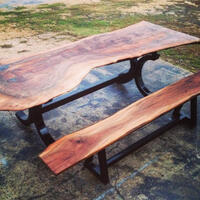 Walnut Table Featuring Bends